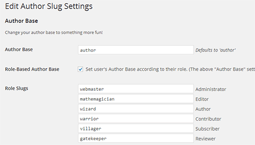 تغییر آدرس نویسنده برای هر نقش