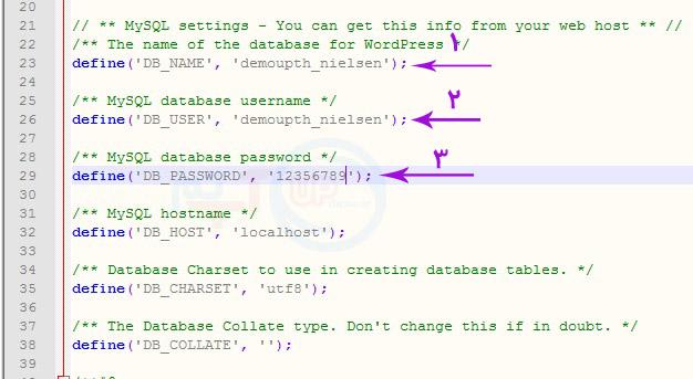 ثبت اطلاعات دیتابیس در wp-config.php