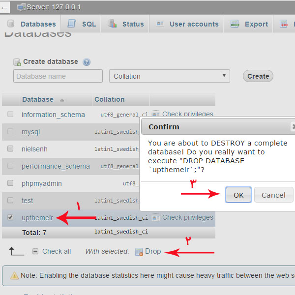حذف دیتابیس در phpmyadmin
