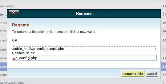wp-config-sample.php در سی پنل