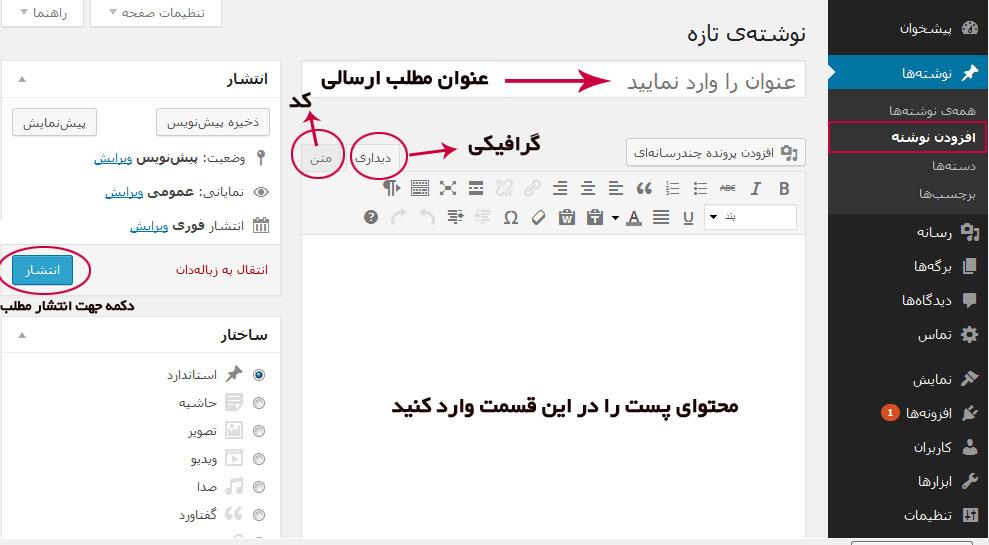 ایجاد نوشته در وردپرس 3