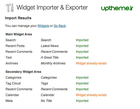 Import Widgets