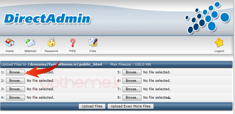 upload files نصب وردپرس